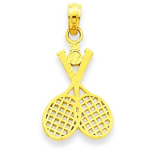 Gold Tennis Racquet - 14k Yellow Gold Two Tennis Racquets Sports Charm Pendant