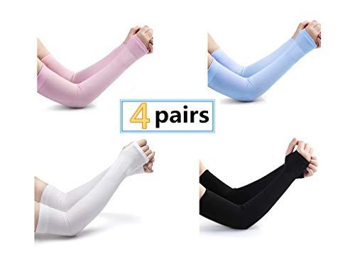 alkeke 4 Pairs UV Protection Cooler Arm Sleeves for Bike/Hiking/Golf]()