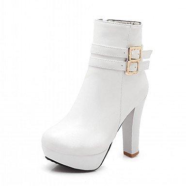 Neuheit PU Winter Blockabsatz Damen Herbst Runde Stiefel Komfort Schnalle Schuhe Booties Kunstleder Modische Stiefel Stiefeletten Zehe Ywxxaq1FES