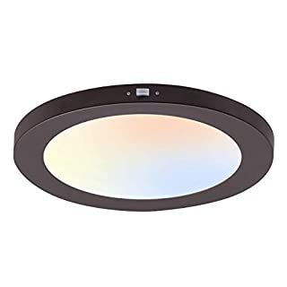 Cloudy Bay 12 inch Ceiling Light LED Flush Mount,120V 17W 1100LM Dimmable, CRI 90+,3000K/4000K/5000K Adjustable,Oil Rubbed Bronze Finish