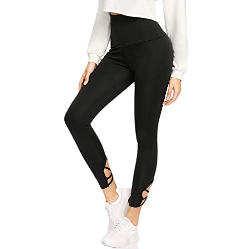 - Pure Color Running Yoga Pants Women Belt-net Type Exercise Fitness Trousers Black