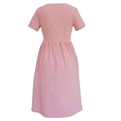 Ai Kneel V Pink Summer Women Neck Vintage Length Button Dress Boho Sundress Down Moichien rnZFxqvr