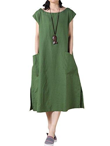 Mordenmiss Women's Cotton Linen Dresses Cap Sleeve Summer Dress with Pockets XL-Green...