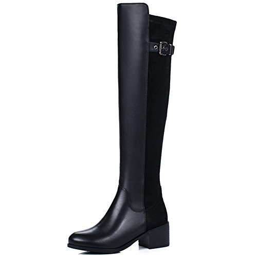 Nine Seven Genuine Leather Womens Round Toe Chunky Heel Classic Handmade Knee High Boots New Smooth Leather