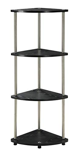 Convenience Concepts Designs2Go X-Tra Storage 4-Tier Corner Shelf, Black