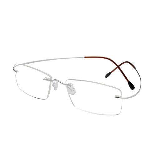 LianSan Desginer Women Man Fashion Lightweight Rimless Titanium Reading Glasses Stylish Simple Readers L8013T Silver +1.00 Magnification ()