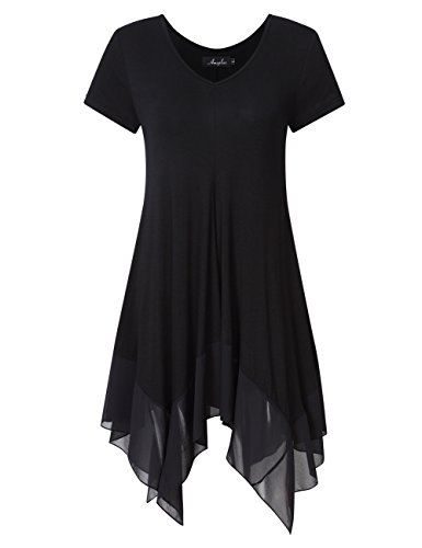 AMZ PLUS Womens Plus Size Short Sleeve Spliced Asymmetrical Tunic Top Black 4XL