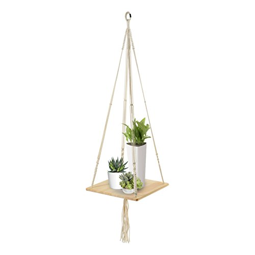Macrame Shelf Planter Hanger for Indoor Plants with Wooden Shelf, Bohemian Hanging Plant Stand and Decor for Modern Homes, 45 Inches, by California Home Goods
