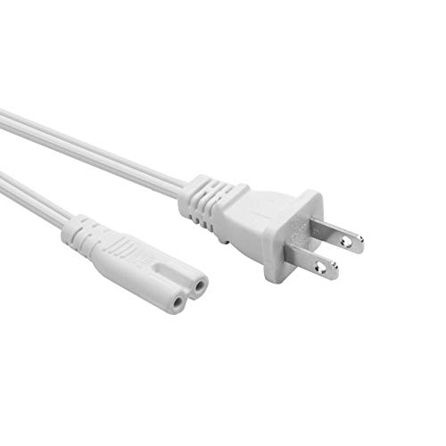 YEKELLA Universal 2 Prong Power Cord - NEMA 1-15P to IEC320 C7 Figure 8 Shotgun Connector AC Power Cord Cable for Sony Playstation 3 (PS3)/4 (PS4) Slim Edition (White- 2ft)