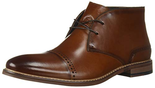 STACY ADAMS Men's Ashby Cap-Toe Lace-Up Chukka Boot, Cognac, 9.5 M US