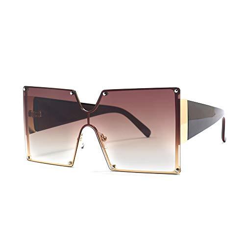 MINCL/Oversized Shield Sunglasses Woman 2019 New Designer Brand Luxury Shades UV400 Vintage Flat Top Square Futuristic Sunglasses (brown)