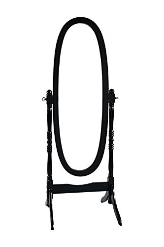 HONGVILLE Hardwood Cheval Floor Full Length Dressing Mirror, Black