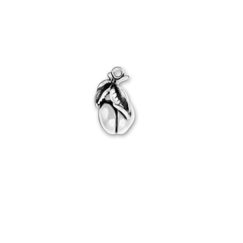 - Sterling Silver Peach Charm Item #155 3D Heavy Solid Fruit Charm
