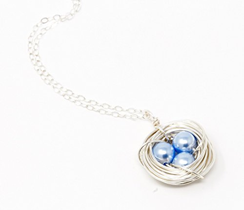 Bird Nest Pendant Necklace With Blue Eggs - Sterling Silver Chain