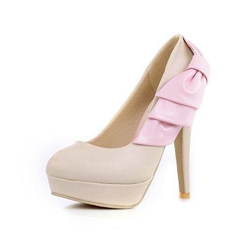 Baumwolle Beige High Material Toe Pumps mit PU Plattform VogueZone009 Weiches Womens Round Heels Feste xRqtYO