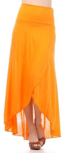 Sakkas 0326 Soft Jersey Feel Solid Color Strapless High Low Dress / Skirt - Orange / X-Large