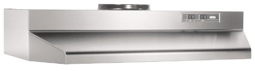 Broan Convertible Range Hood Insert with Light, Exhaust Fan for Under Cabinet, Stainless Steel, 6.0 Sones, 190 CFM, 36