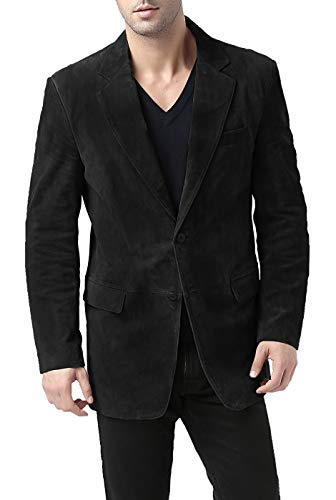 - BGSD Men's Cliff Classic Two-Button Suede Leather Blazer - L Short Black