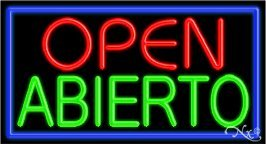 Open Abierto Handcrafted Real GlassTube Neon Sign