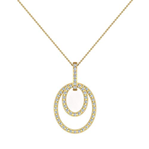 0.68 ct Entwined Circles Dangling Diamond Pendant 14K Yellow Gold (P0203)