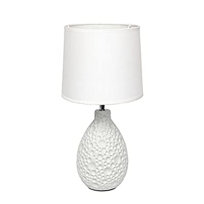 Simple Designs Home LT2003-WHT Textured Stucco Ceramic Oval Table Lamp, White - A charming and practical table lamp to meet your fashion lighting needs. This lamp features an oval texturized stucco ceramic base and a white fabric shade. Perfect for living room, bedroom, office, kids room, or college dorm! Texturized stucco oval ceramic base White fabric shade - lamps, bedroom-decor, bedroom - 31HgSDdkPKL. SS400  -