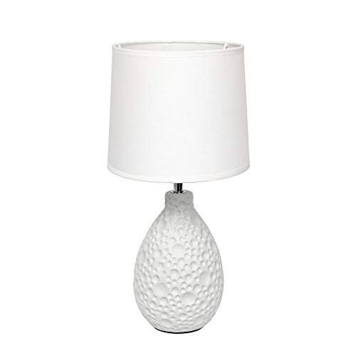 31HgSDdkPKL - Simple Designs LT2003-WHT Texturized Stucco Ceramic Oval Table Lamp, White
