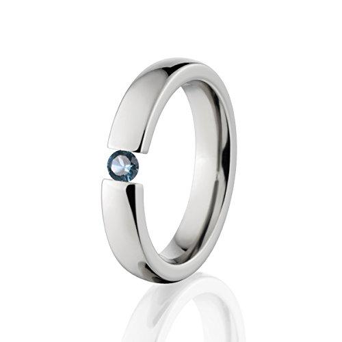 - London Blue Topaz Ring Titanium Tension Set Jewelry Stunning London Blue Topaz Band