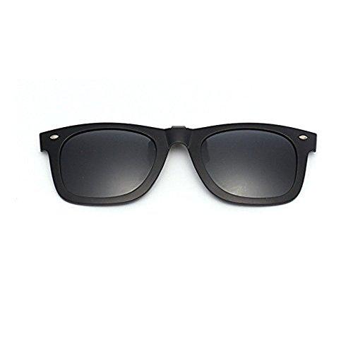Gafas de sol de plástico con lentes de espejo polarizadas, para colocar con clip sobre gafas, para hombres y mujeres, color negro