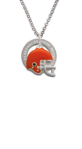 Small Orange Football Helmet Custom Engraved Affirmation Ring Necklace