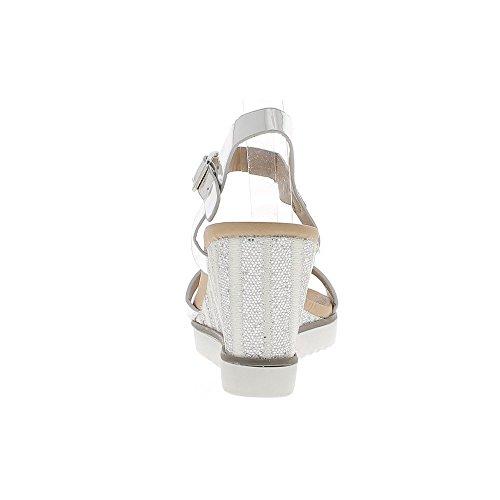 Tacco a zeppa Sandali donna grigio argento verniciato e strass 8, suola 5cm bianco