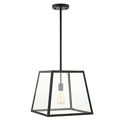 Light Society Preston Pendant Light, Matte Black Shade with Clear Glass Panels, Modern Industrial Lighting Fixture (LS-C103)