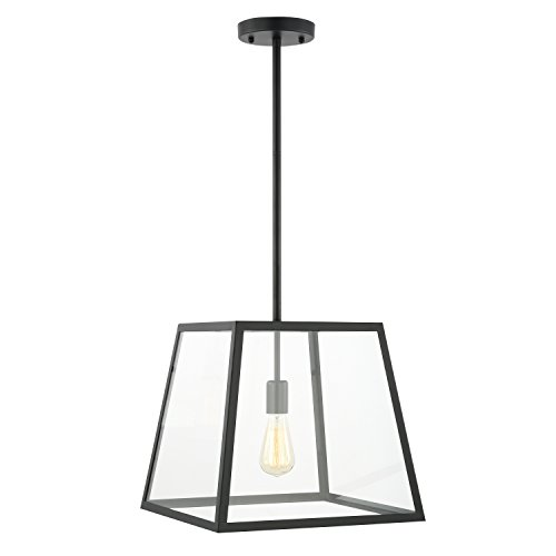 Light Society LS-C103 Preston Pendant Lamp, Matte Black Shade with Clear Glass Panels, Modern Industrial Lighting Fixture