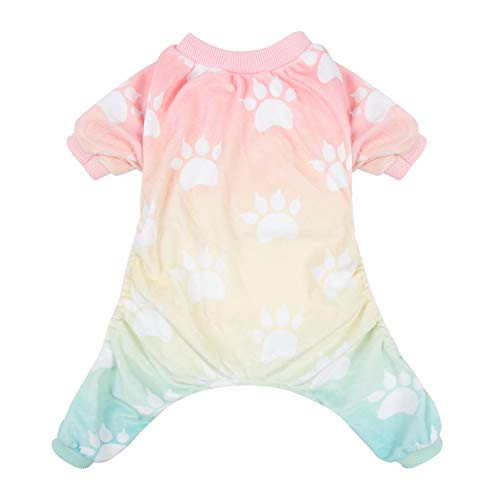 CuteBone Soft Dog Pajamas Gradient Footprint Doggy Shirts for Small Puppies -