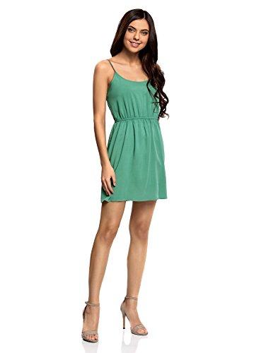 oodji Ultra Mujer Vestido de Verano Básico con Elástico y Tirantes Finos Verde (6E00N)