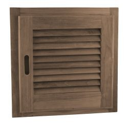 SeaTeak 60722 Teak Louvered Door and Frame, Square, Right Hand Opening, 15 Inch x 15 - Louvered Solid Door