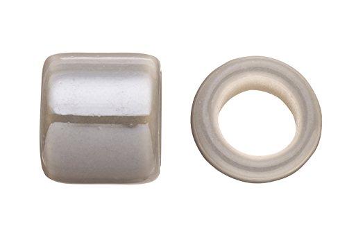 Tube Licorice Ceramic Bead Fits 10x8mm licorice Leather Grey Glazed Finished
