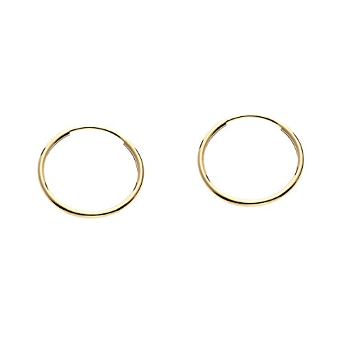14k Gold Round Flexible Thin Continuous Endless Hoop Earrings, Unisex (14mm, yellow-gold) ()