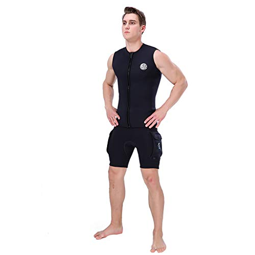 Allywit Men's 3mm Black Neoprene Wetsuit Vest Sleeveless Surf Surfing Diving Suit Top by Allywit (Image #1)