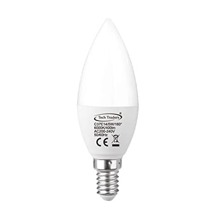 Tech Traders® – Bombillas LED tipo vela de 5 W C37 E14, equivalentes a bombillas incandescentes ...
