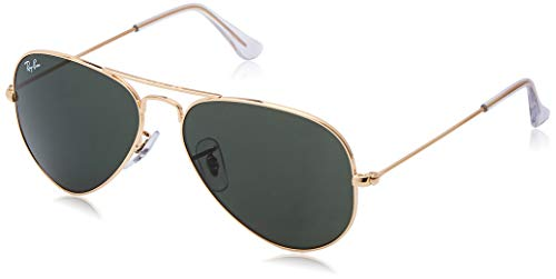 Ray-Ban RB3025 Aviator Sunglasses, Gold/Dark Green Crystal, 55 mm (Ray-ban Rb3025 55 Aviator)