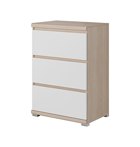 """Olav Collection Furniture – Sideboard 23.6"""" - Living Room Furniture - Functional Fashion in Muted hues – Dresser with 3 Drawers - White and Sonoma Oak ()"""