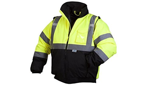 Pyramex RJ3210M Hi-Vis Lime Safety Bomber Jacket with Quilted Lining, Medium, Green - Reflective Bomber