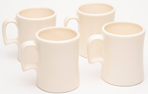 "American Mug Pottery Ceramic ""Texas Tea Cup"" Coffee Mug, Made in USA, Ivory, 16 oz - Pack of 4"