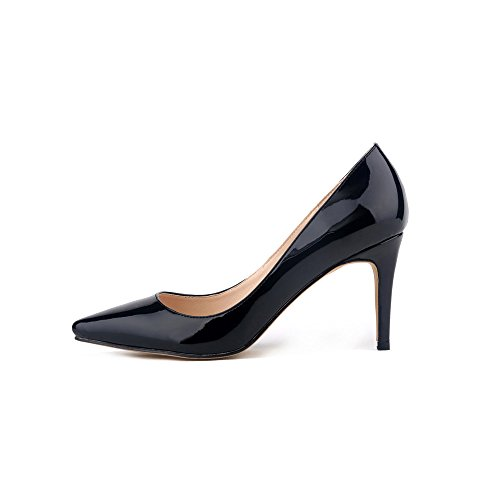 Boda Ochenta Clasica Manera La Pu De Los Negro Del Mujer Cuero Partido Zapatos Patente wwr7vq