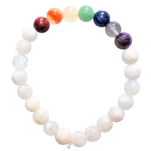 (Charged 7 Chakra Rainbow Moonstone Crystal Bracelet Tumble Polished Stretchy (Reduce Stress & Tension - Cool Temper & Warm Heart Center) [Reiki] by ZENERGY)
