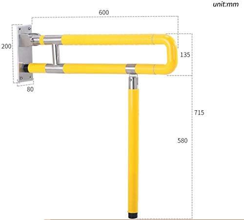 WGWJ Griffiger Bad-Handlauf, Nylon-Edelstahl-verstärkter Doppelmesser-Klappboden in Gelb (Design: B, Größe: 75 cm)