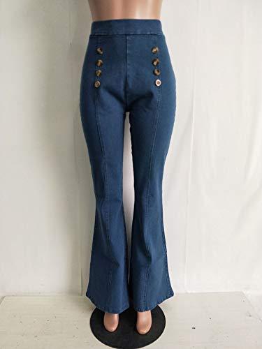 Large Elégante Bootcut Classique Classic Mode Jambe Pantalons Boutonnage Jean Confortables Femme Denim Jeans De Fille Haute Bleu Loisirs Vintage Double Taille Pantalon jSMpGLVqzU