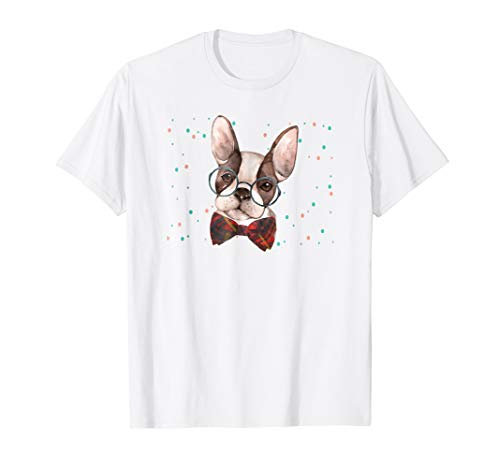 Boston Terrier Shirt Boston with Glasses Novelty Shirt ()