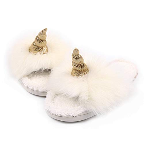 - Caramella Bubble Open Toe Fur Slippers for Women | Summer House Slippers for Women Fluffy Slides | Cozy Pom Pom Slip on Sippers (5-6, White)