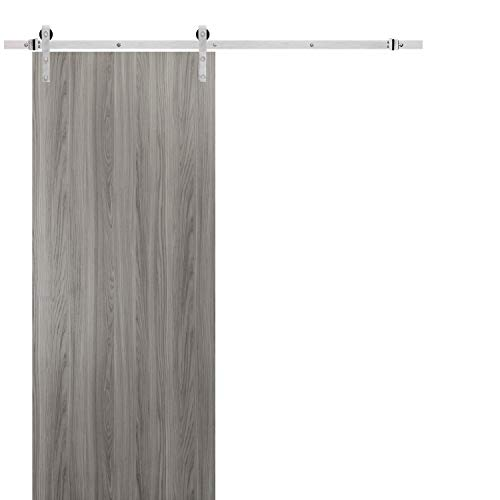 Solid Barn Door 42 x 84 with Stainless Steel 6.6FT Rail Sturdy Heavy Duty Hardware Kit | Planum 0010 Ginger Ash | Modern…